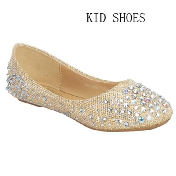39K Girls Kids Ballet Flats Shoes Fabric Champagne